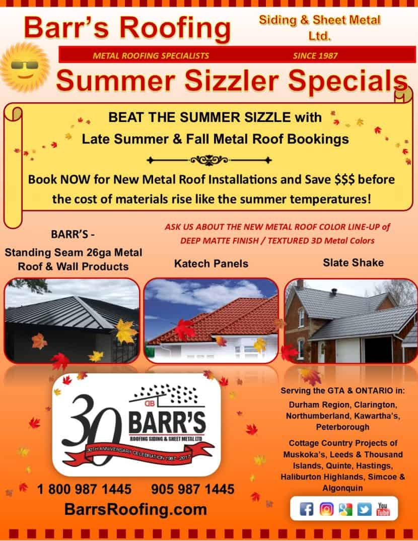 Metal Roofing Specials with Barr's Roofing